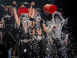 Eric Singer, Paul Stanley and Tommy Thayer of the band KISS participates take the ALS Ice Bucket Challenge in Indiana