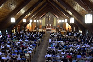 People attend Our Lady of the Rosary Church for a special mass in remembrance of James Foley August 24, 2014 in Rochester, New Hampshire.