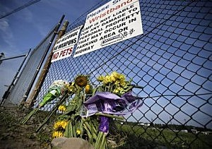 A small memorial of flowers is seen at Canandaigua Motorsports Park  in Canandaigua, N.Y.