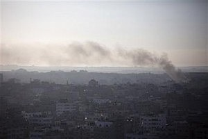 Smoke rises after an Israeli missile strike hit Gaza City