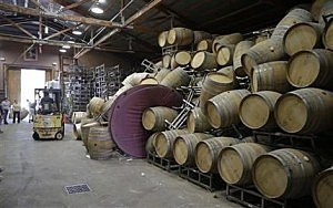 Workers collect barrels that fell during the earthquake in Saintsbury wine factory in the town of Napa, California