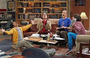 "(L-R) Kunal Nayyar, Johnny Galecki, Jim Parsons and Simon Helberg in a scene from ""The Big Bang Theory."""
