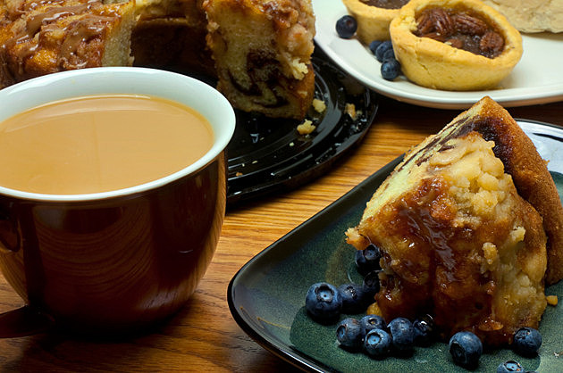 Dessert - Coffee, Cake, Blueberries and Tarts