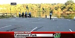 Crime scene along the Schuylkill River in Philadelphia where two bodies were found in the river