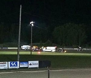 Ambulances on the scene at Canandaigua Motorsports Park following a fatal accident involving driver Tony Stewart