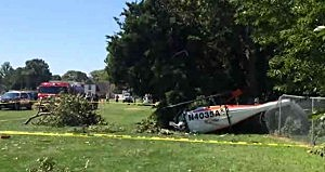 Helicopter after crashing in Middle Township