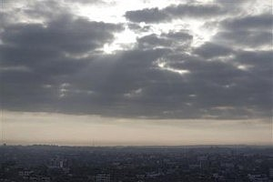 Clouds hover above Gaza City