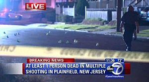Markers show where bullets were found by police following a shooting in Plainfield