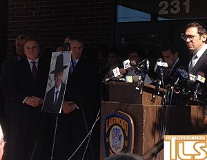 A press conference about the disappearance of Aaron Stofer on the steps of the Lakewood Police Department