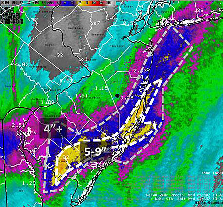 Map of rainfall from the late Tuesday/early Wednesday rainfall