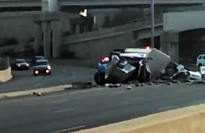 An overturned truck carrying watermelon on Route 1 in North Brunswick