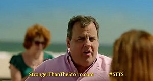 "Governor Christie in the ""Stronger than the storm"" commercial"