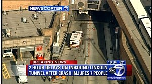 Fire and police outside the Lincoln Tunnel following an accident in the center tube