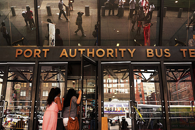 An entrance to the Port Authority Bus Terminal in New York