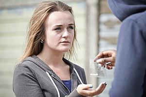 Girl buying drugs