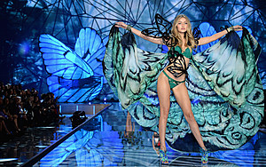 Gigi Hadid from California walks the runway during the 2015 Victoria's Secret Fashion Show