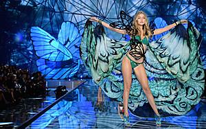 Gigi Hadid from California walks the runway during the 2015 Victoria's Secret Fashion Show