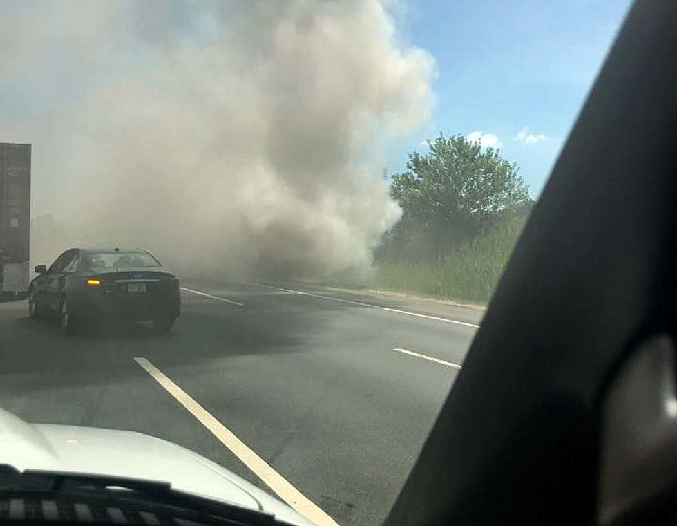 Turnpike bus fire slows traffic, sends thick smoke into the air