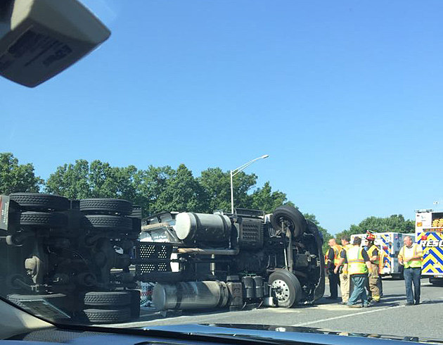 Overturned tractor trailer on the ramp from I-295 to the NJ Turnpike