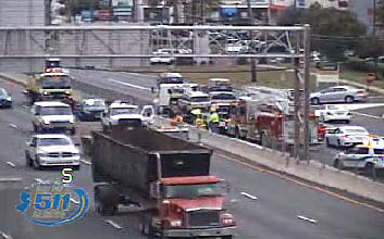 A crash on Route 1 southbound in West Windsor