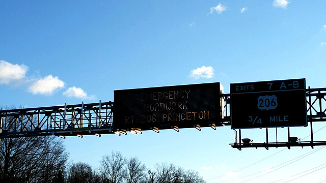 An electronic sign on I-95 warns  of road work on Route 206 in Princeton