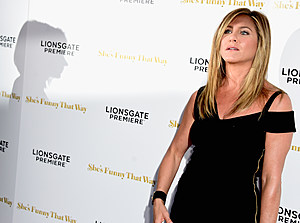"""LOS ANGELES, CA - AUGUST 19:  Actress Jennifer Aniston arrives at the Premiere Of Lionsgate Premiere's """"She's Funny That Way"""" at Harmony Gold on August 19, 2015 in Los Angeles, California.  (Photo by Frazer Harrison/Getty Images)"""