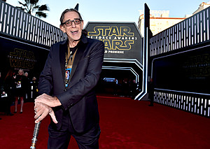 """HOLLYWOOD, CA - DECEMBER 14:  Actor Peter Mayhew attends the World Premiere of """"Star Wars: The Force Awakens"""" at the Dolby, El Capitan, and TCL Theatres on December 14, 2015 in Hollywood, California.  (Photo by Alberto E. Rodriguez/Getty Images for Disney)"""