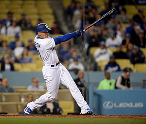 Trayce Thompson #21 of the Los Angeles Dodgers hits a walk off home run to defeat the New York Mets,