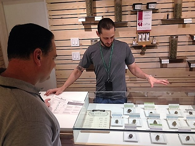 Sen. Nicholas Scutari views marijuana for sale at the Groundswell Cannabis Boutique, a dispensary in Denver, Colo. The senator toured the facility on Sunday, June 12, 2016. (Photo provided by NJ Senate Democrats)