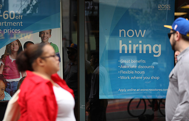 SAN FRANCISCO, CA - JULY 08: A 'now hiring' sign is posted outside of a Ross Dress for Less store on July 8, 2016 in San Francisco, California. According to the the U.S. Labor Department, employment growth surged with 287,000 added jobs in June. The unemployment rate inched up to 4.9% from 4.7% with an estimated 400,000 people returning to the workforce, many who had given up on job searches. (Photo by Justin Sullivan/Getty Images)