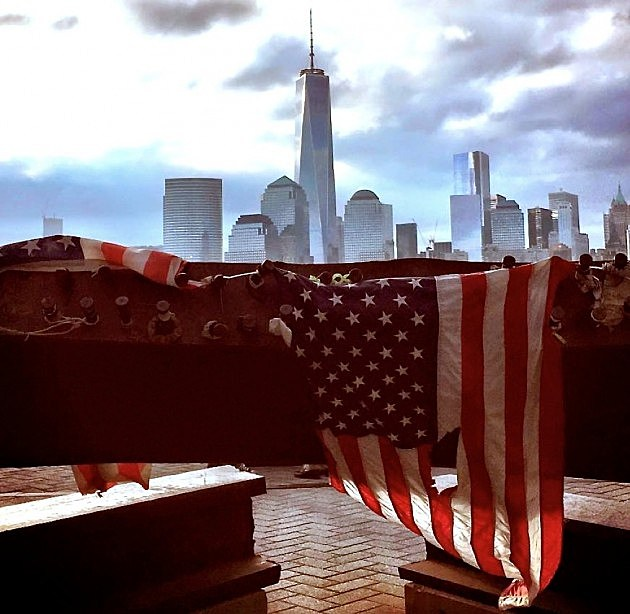 Steel from the World Trade Center makes up part of the Sept. 11 memorial at Exchange Place in Jersey City. (Toniann Antonelli, Townsquare Media)