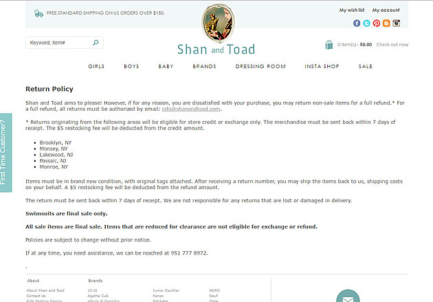Screen shot of Shan and Toad return policy