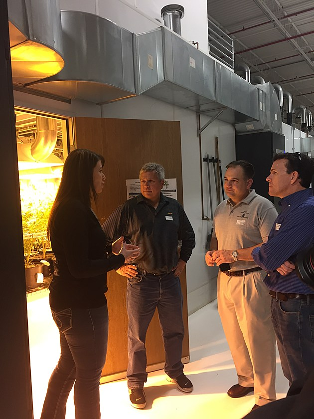"Sen. Christopher ""Kip"" Bateman, Sen. Nicholas Scutari and Assemblyman Declan O'Scanlon discuss the marijuana operation with Carrie Roberts, a representative with Medicine Man Technologies. The group toured Medicine Man, a cultivation and retail facility in Denver, Colorado on Tuesday, Oct. 18, 2016. (Photo courtesy Senate Democrats)"