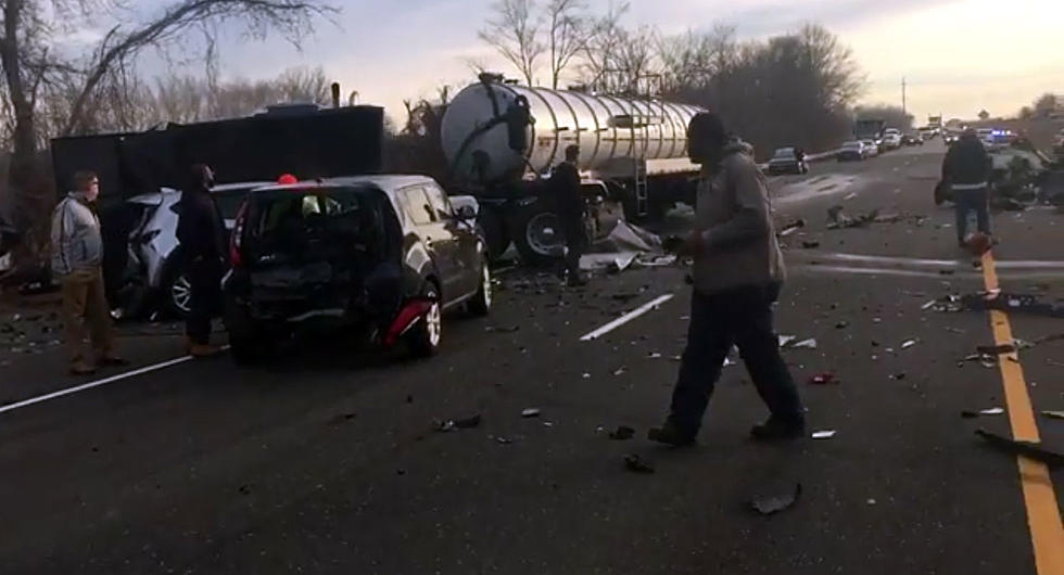 Mangled mess: Video aftermath of truck plowing into line of cars ...