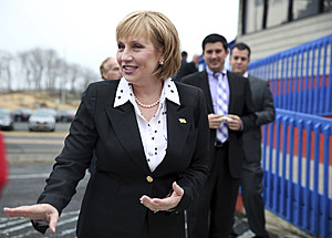 Lt. Gov. Kim Guadagno addresses a gathering as she announces her candidacy for governor
