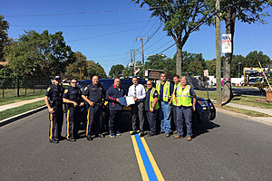 Clark Township was one of several to paint a 'Thin Blue Line' to support law enforcement: Courtesy of Clark Township