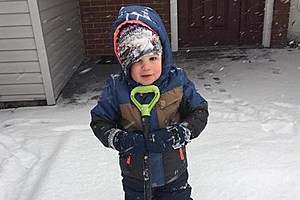 Assistant Junior Chief Meteorologist Jackson Zarrow, bundled up against the cold and enjoying this weekend's snow.  (Photo: Amy Zarrow)