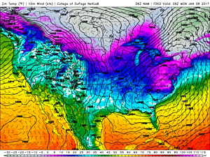 Lots of blue and purple on the national temperature map, as of Monday morning, according to the NAM forecast model.  (College of DuPage Meteorology)