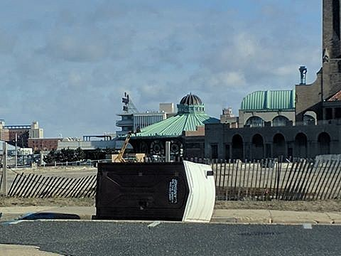 A portable toilet knocked over by wind in Asbury Park