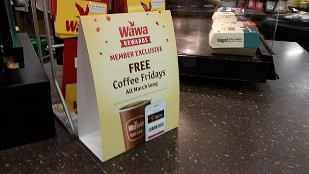 Sign offering Wawa app users a free coffee on Friday at a Wawa in Toms River