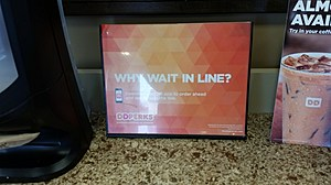 A promotional piece in a Lawrenceville Dunkin' Donuts