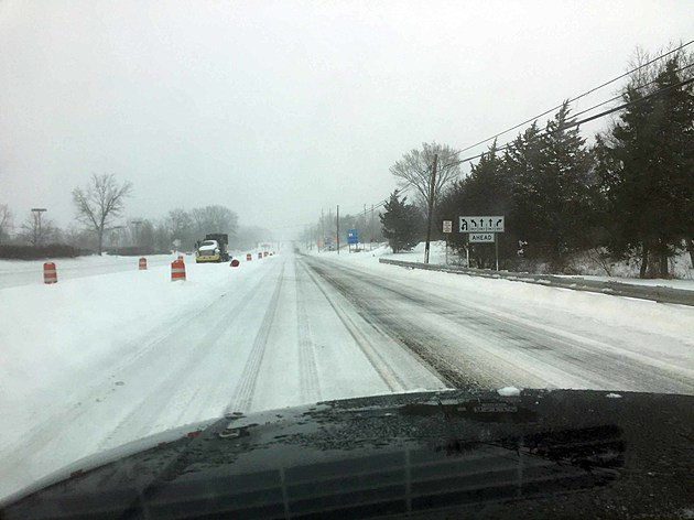 A snow covered Route 202 in Flemington