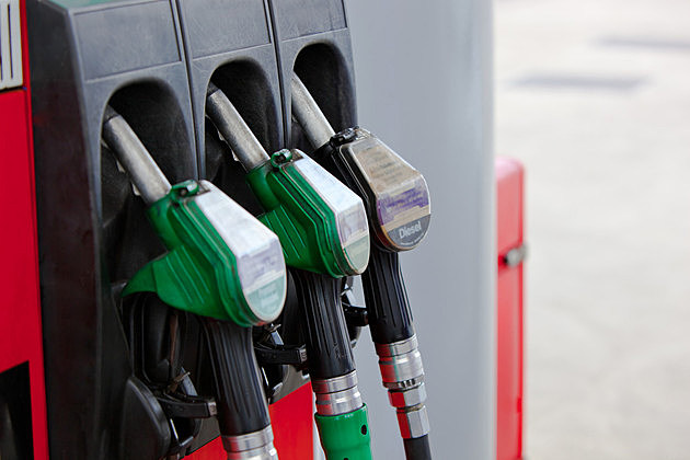 Close-up of a gasoline pumps nozzles in a petrol station