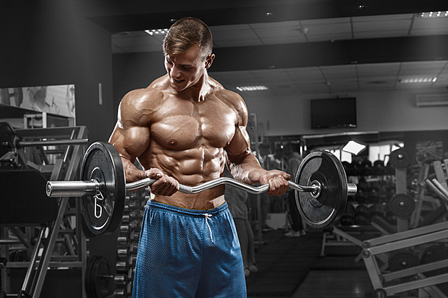 Muscular man working out in gym, male naked torso abs