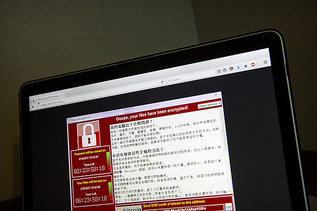 A screenshot of the warning screen from a purported ransomware attack