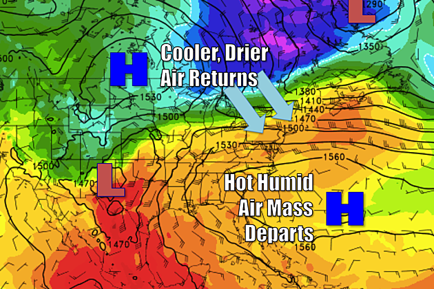 Friday is changeover day, starting hot but ending with cooler temps.  (Map: College of DuPage Meteorology)