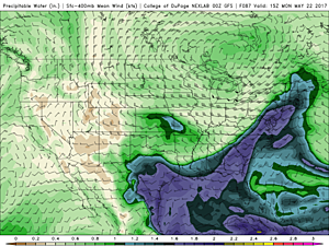 GFS model precipitable water forecast, showing a river of atmospheric moisture extending directly from the Gulf of Mexico to New Jersey.  (College of DuPage Meteorology)