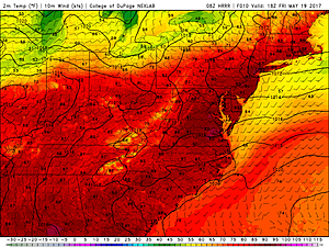 HRRR model high temperature forecast, as of 2 p.m. Friday.  (College of DuPage Meteorology)
