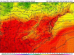 HRRR model temperature forecast, as of 9 p.m. Friday.  (College of DuPage Meteorology)