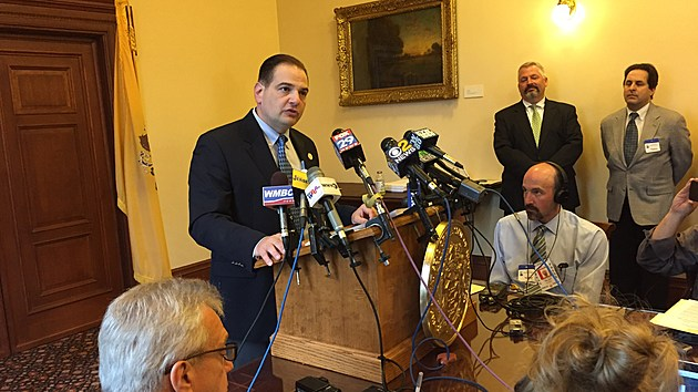 Sen. Nicholas Scutari announces legislation that would legalize recreational marijuana in New Jersey. (Michael Symons/Townsquare Media NJ)
